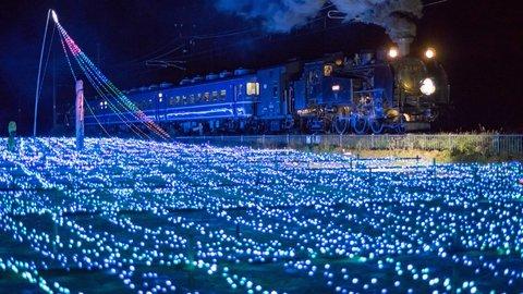 まるで銀河鉄道の夜。冬を美しく彩る鬼怒川沿線のイルミネーション